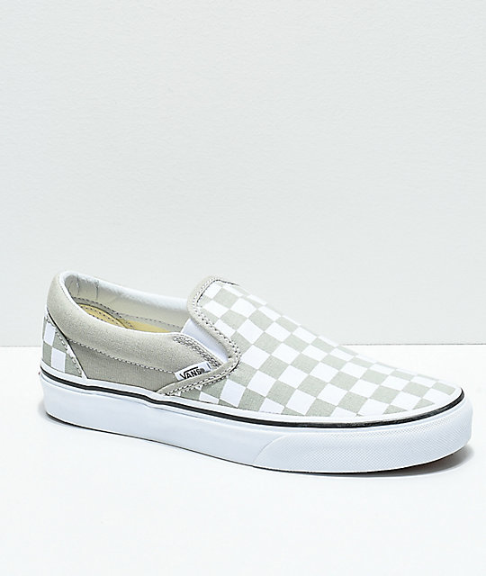 Vans Slip-On Desert Sage & True White Checkerboard Skate Shoes