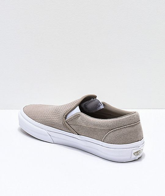 5d97477c84e ... Vans Slip-On Desert Taupe   White Embossed Suede Skate Shoes ...