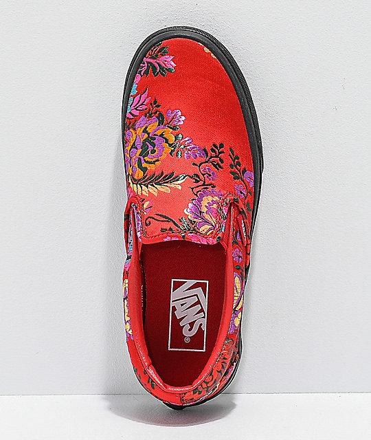 880a7f1d5cf45b ... Vans Slip-On Festival Satin Red Skate Shoes ...