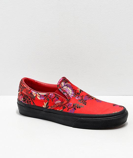b1f7fa1040f Vans Slip-On Festival Satin Red Skate Shoes ...