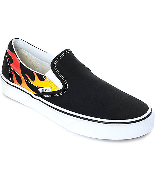 1a42596cac Vans Slip-On Flame Black & White Skate Shoes