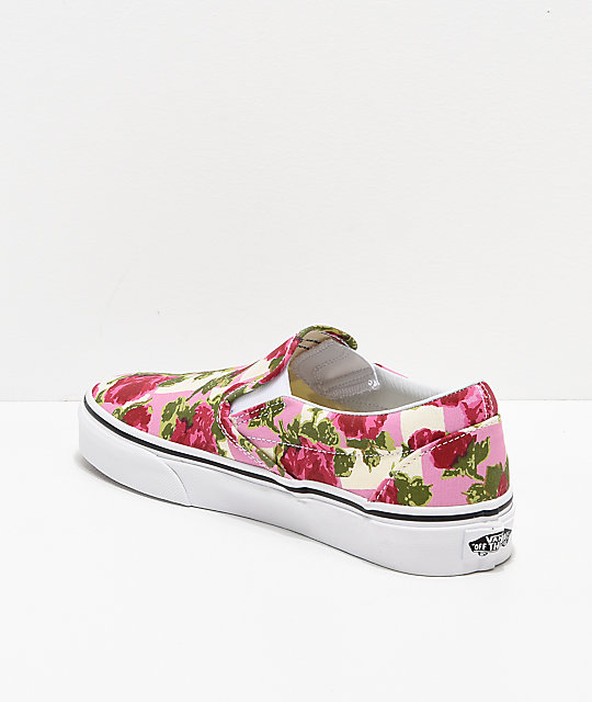 Vans Slip-On Floral & White Skate Shoes