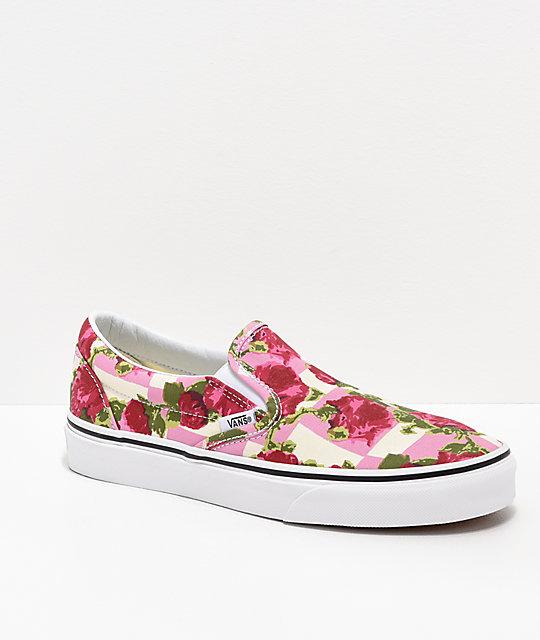 db3b8205c8 Vans Slip-On Floral   White Skate Shoes