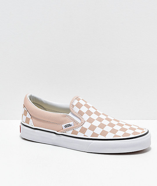 57965e6bace94e Vans Slip-On Frappe Brown   White Checkered Canvas Skate Shoes