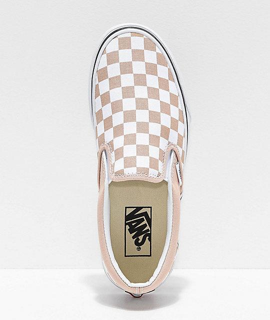Vans Slip On Frappe Brown & White Checkered Canvas Skate Shoes