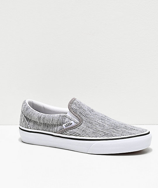 Vans Slip-On Gray Rib & White Skate Shoes