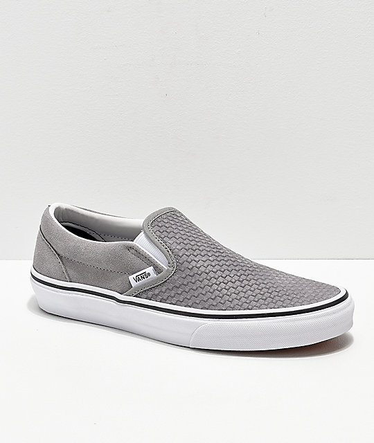 2713aacf1f Vans Slip-On Grey   White Embossed Suede Skate Shoes