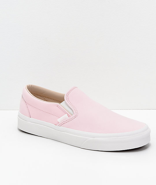 11e43eb69c05 Vans Slip-On Heavenly Pink   White Vansbuck Skate Shoes