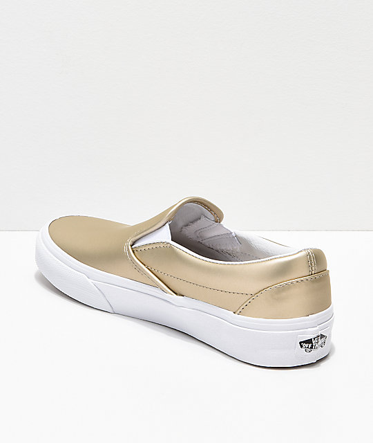 Vans Slip-On Iridescent Muted Metallic Gold & White Skate Shoes