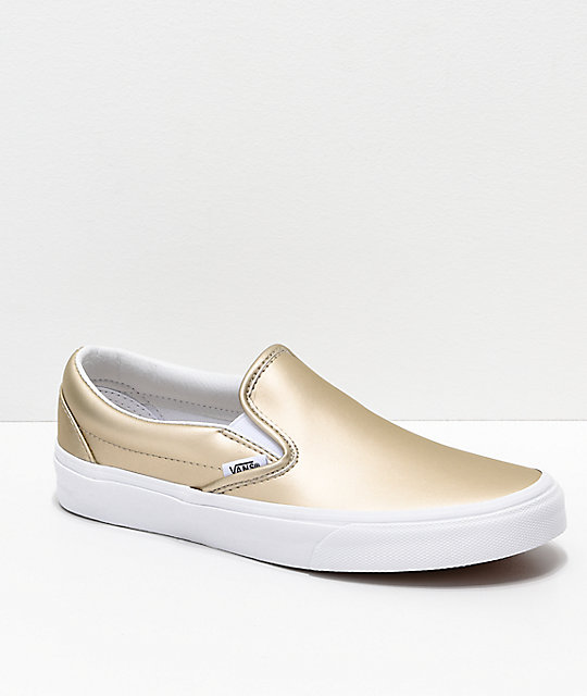 7ae19c47 Vans Slip-On Iridescent Muted Metallic Gold & White Skate Shoes