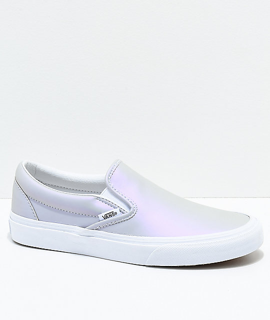 Vans Slip-On Iridescent Muted Metallic Grey & White Skate Shoes