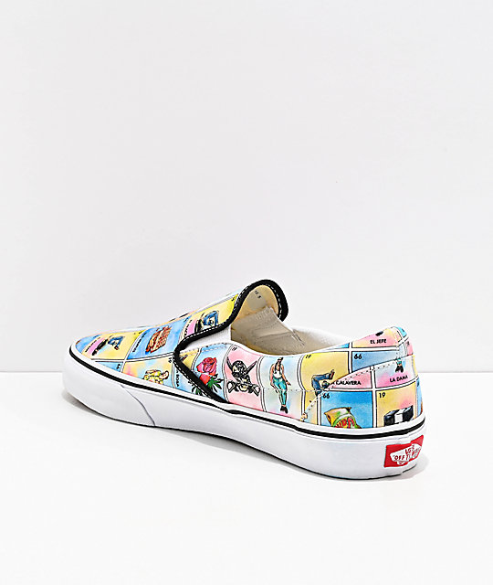 Vans Slip-On Los Loteria Blue, Yellow & White Skate Shoes