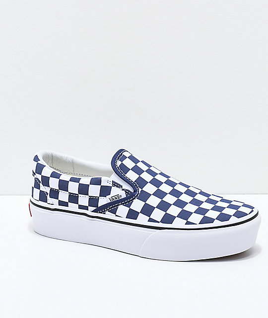 Vans Slip-On Medieval Blue   White Checkerboard Canvas Platform Skate Shoes   c35cb75e2