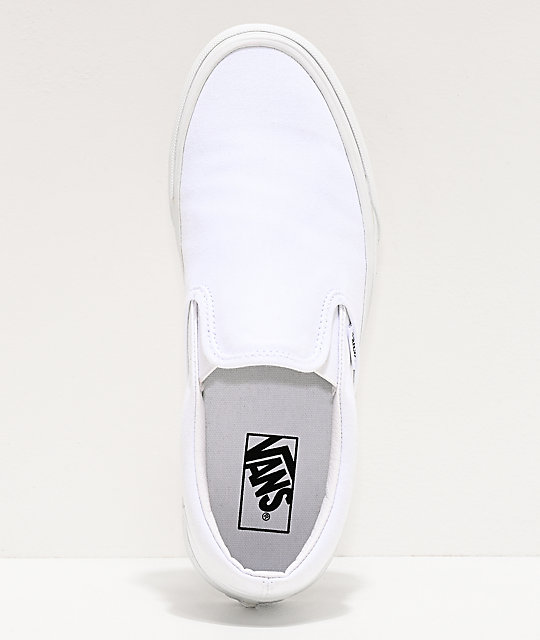 white slip on vans womens size 9