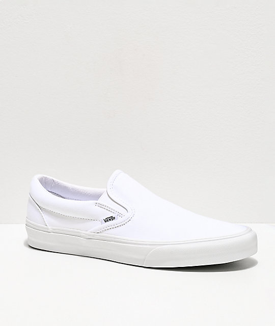 40f3e3fb72ff4c Vans Slip-On Monochromatic True White Skate Shoes