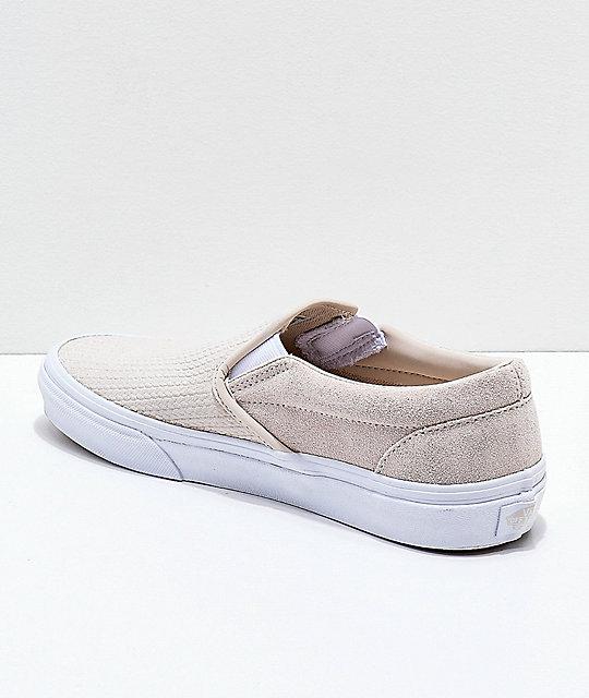 a49800448c ... Vans Slip-On Moonbeam   White Embossed Skate Shoes ...