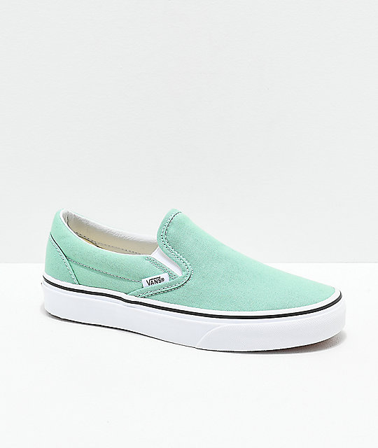3d9afae7d0d04 Vans Slip-On Neptune Green & White Skate Shoes