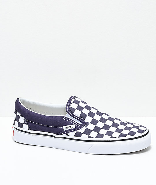 3b01d00b14db Vans Slip-On Nightshade Purple Checkered Skate Shoes