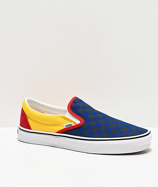 shopping for whole family new cheap Vans Slip-On OTW Rally Navy, Yellow & Red Checkerboard Skate Shoes