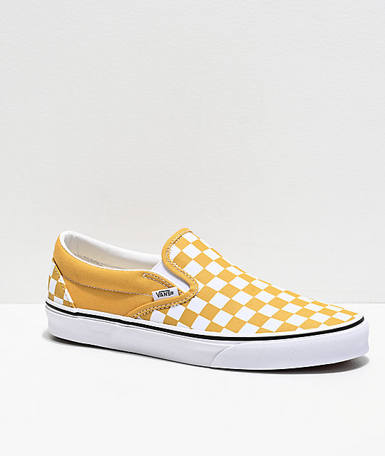 Vans Slip-On Ochre Checkerboard Skate Shoes