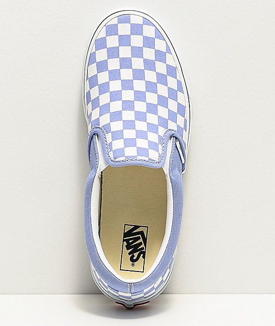 Vans Slip-On Pale Iris & White Checkerboard Skate Shoes