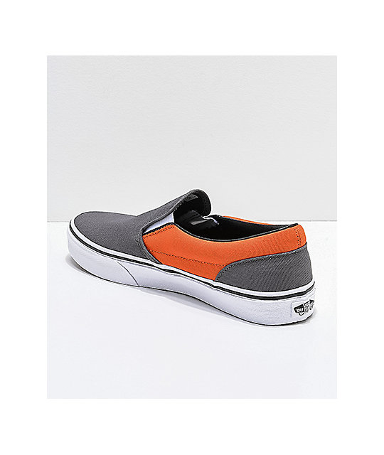 9e0bb7be88 ... Vans Slip-On Pewter   Flame Orange Skate Shoes ...