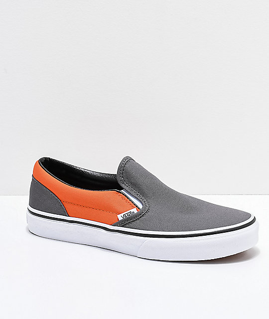 1e1cc34105 Vans Slip-On Pewter   Flame Orange Skate Shoes
