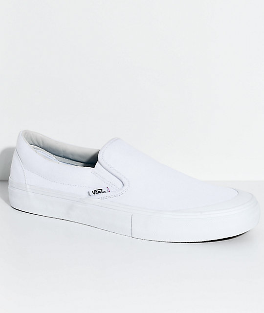833f71a08d6a Vans Slip-On Pro Allen Mono White Skate Shoes