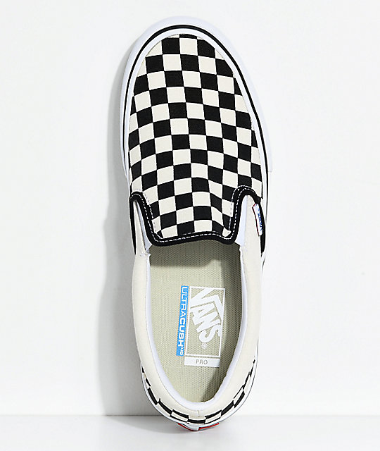 22a4cb286db ... Vans Slip-On Pro Black   White Checkered Skate Shoes ...