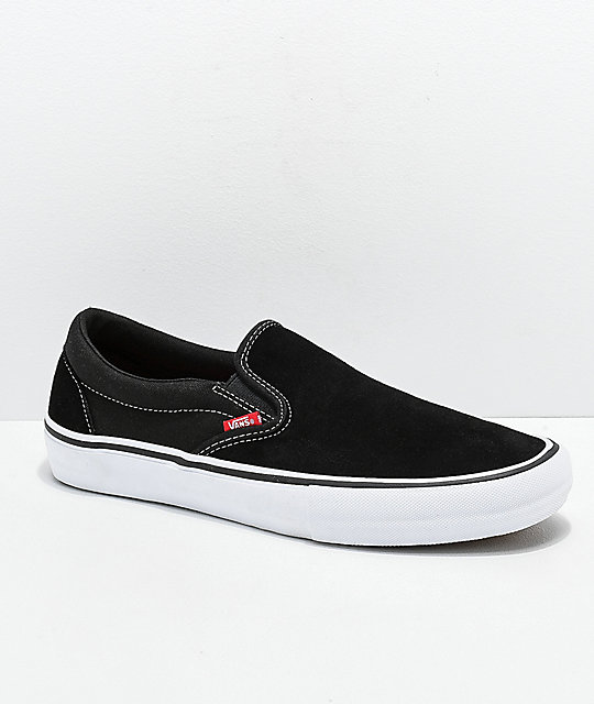 5cbfd9f5b66 Vans Slip-On Pro Black   White Gum Skate Shoes