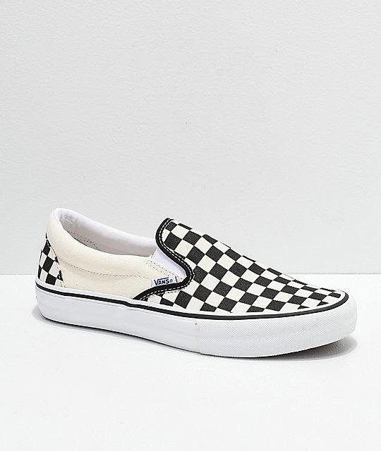 Vans Slip On Pro Black & White Checkerboard Skate Shoes