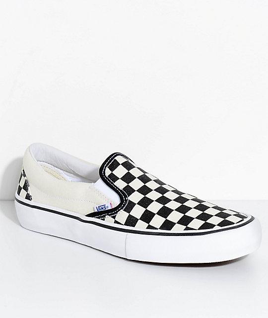 Vans Slip On Pro Black & White Checkered Skate Shoes