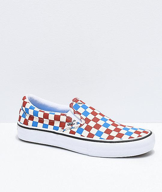 cd0937c7e9 Vans Slip-On Pro Blue, Rust & Off-White Skate Shoes