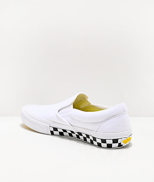 Vans Slip-On Pro Checkerboard White & Yellow Skate Shoes