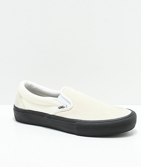 Vans Slip-On Pro Classic White   Black Skate Shoes  a8d83d153