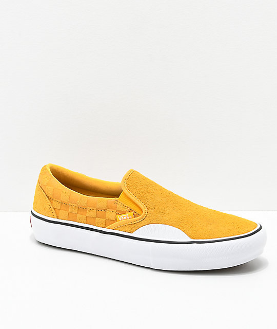 Vans Slip-On Pro Hairy Banana Yellow Checkerboard Skate Shoes  50a29be43