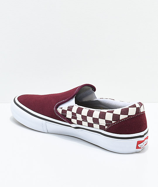 2bef67c86ed ... Vans Slip-On Pro Port Royal Red   White Checkered Skate Shoes ...