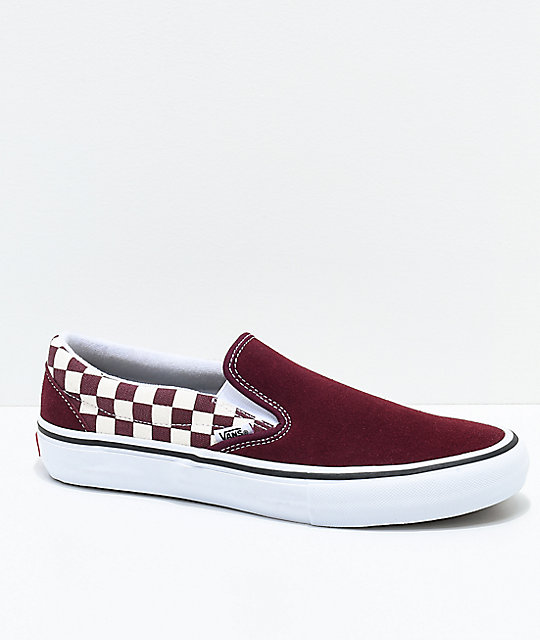 61cfdd33395 Vans Slip-On Pro Port Royal Red   White Checkered Skate Shoes