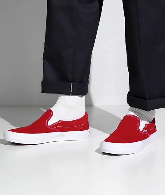 Vans Slip-On Pro Red & White Suede Skate Shoes   Zumiez