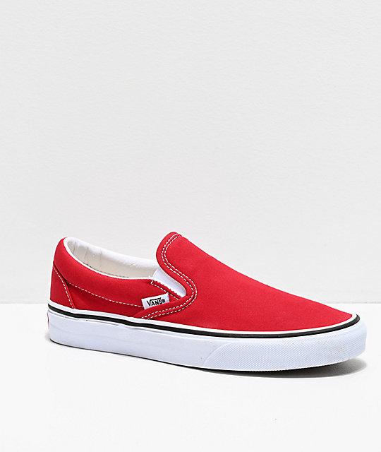 red canvas vans