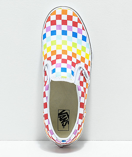 29dc55753e3473 ... Vans Slip-On Rainbow Checkerboard Skate Shoes ...