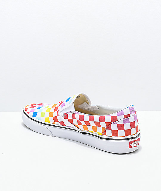 c15c6f62d419ab ... Vans Slip-On Rainbow Checkerboard Skate Shoes ...