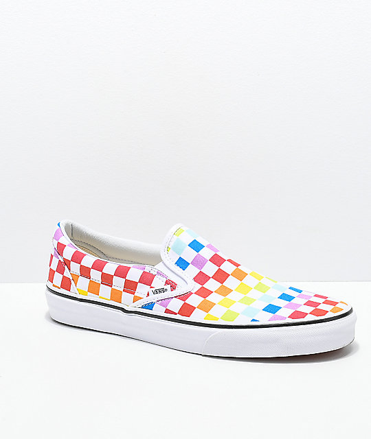 ... Vans Slip-On Rainbow Checkerboard Skate Shoes ... 0a538ba54