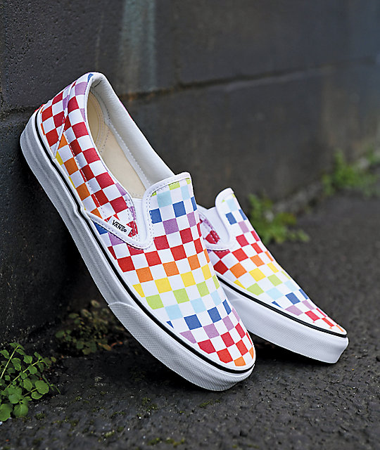 Vans Slip,On Rainbow Checkerboard Skate Shoes