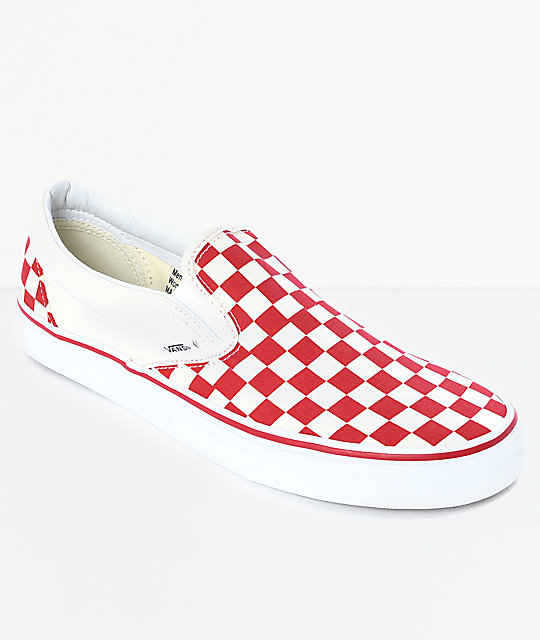 Vans Slip-On Red & White Checkered Skate Shoes