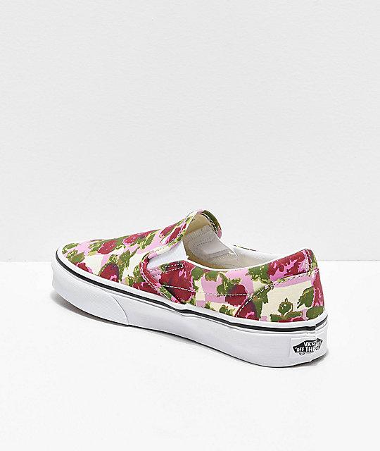 19d4ce4bd8 ... Vans Slip-On Romantic Floral Pink   White Skate Shoes ...