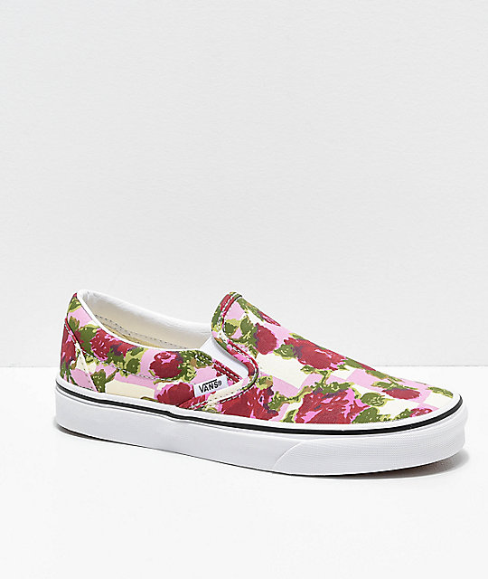 Vans Slip-On Romantic Floral zapatos de skate en rosa y blanco