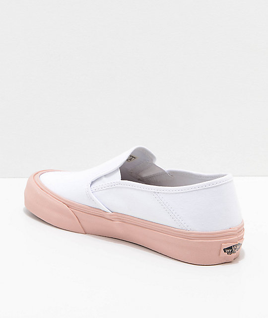 b8208d4a4934dd ... Vans Slip-On SF Evening Sand   White Skate Shoes ...