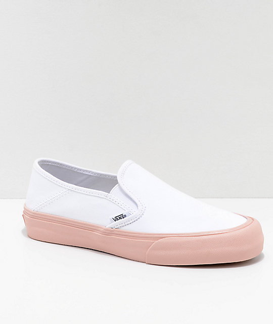 93eec640c91e5e Vans Slip-On SF Evening Sand   White Skate Shoes ...