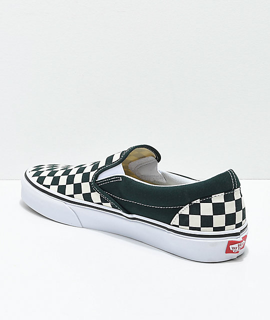Vans Slip-On Scarab Green & White Checkered Skate Shoes
